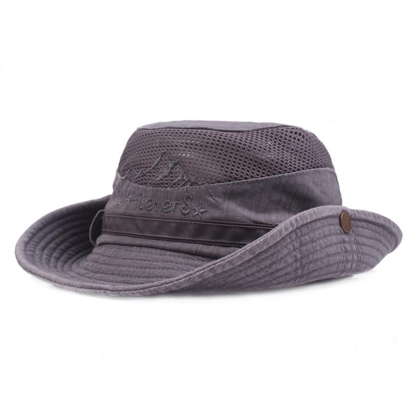 6dd4a4c407001 Mens Cotton Embroidery Bucket Hats Outdoor Fisherman Hat in 2019 ...