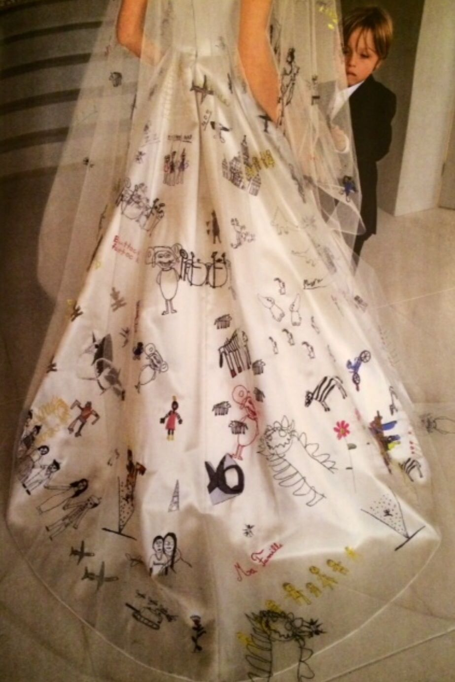 Angelina Jolie\'s wedding dress train with hand sewn drawing made by ...