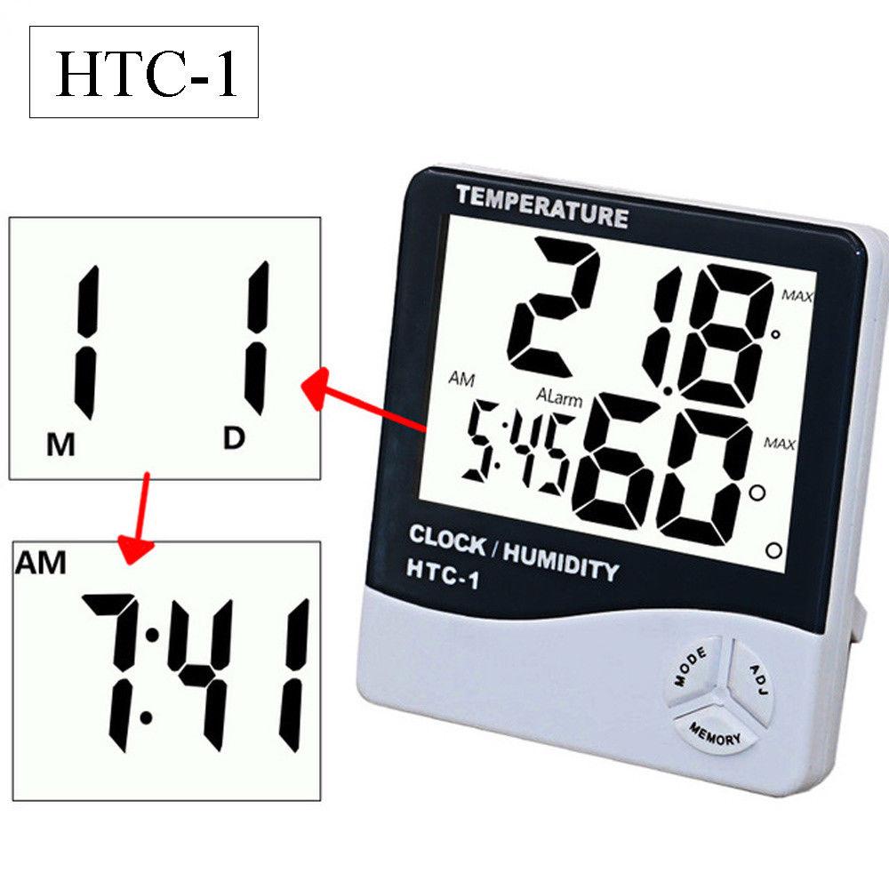 Digital Lcd Thermometer Hygrometer Temperature Humidity Gauge Meter Termometer Htc 1 Alarm Clock
