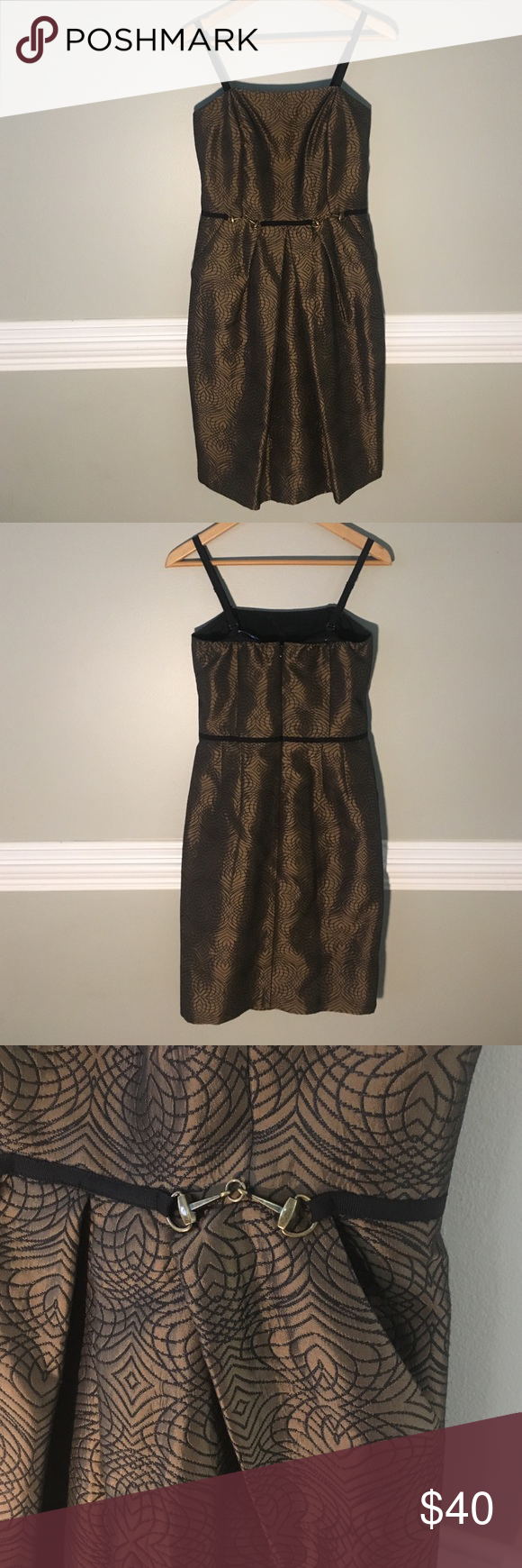 ANTONIO MELANI BRONZE BROCADE STRAPLESS DRESS Gorgeously flattering dress. Has pockets! Can be worn with or without straps. Worn once. Like new. ANTONIO MELANI Dresses Strapless