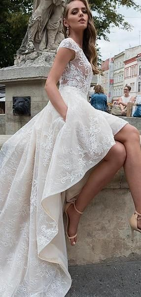 Ivory Lace Short Sleeve See Through Top High Low Fashion Wedding