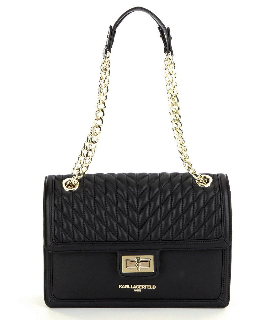KARL LAGERFELD PARIS Agyness Quilted Chain Strap Shoulder Bag ... 5cc66897582be