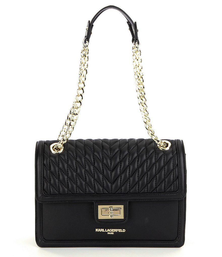7a2d493d56e2 KARL LAGERFELD PARIS Agyness Quilted Chain Strap Shoulder Bag ...