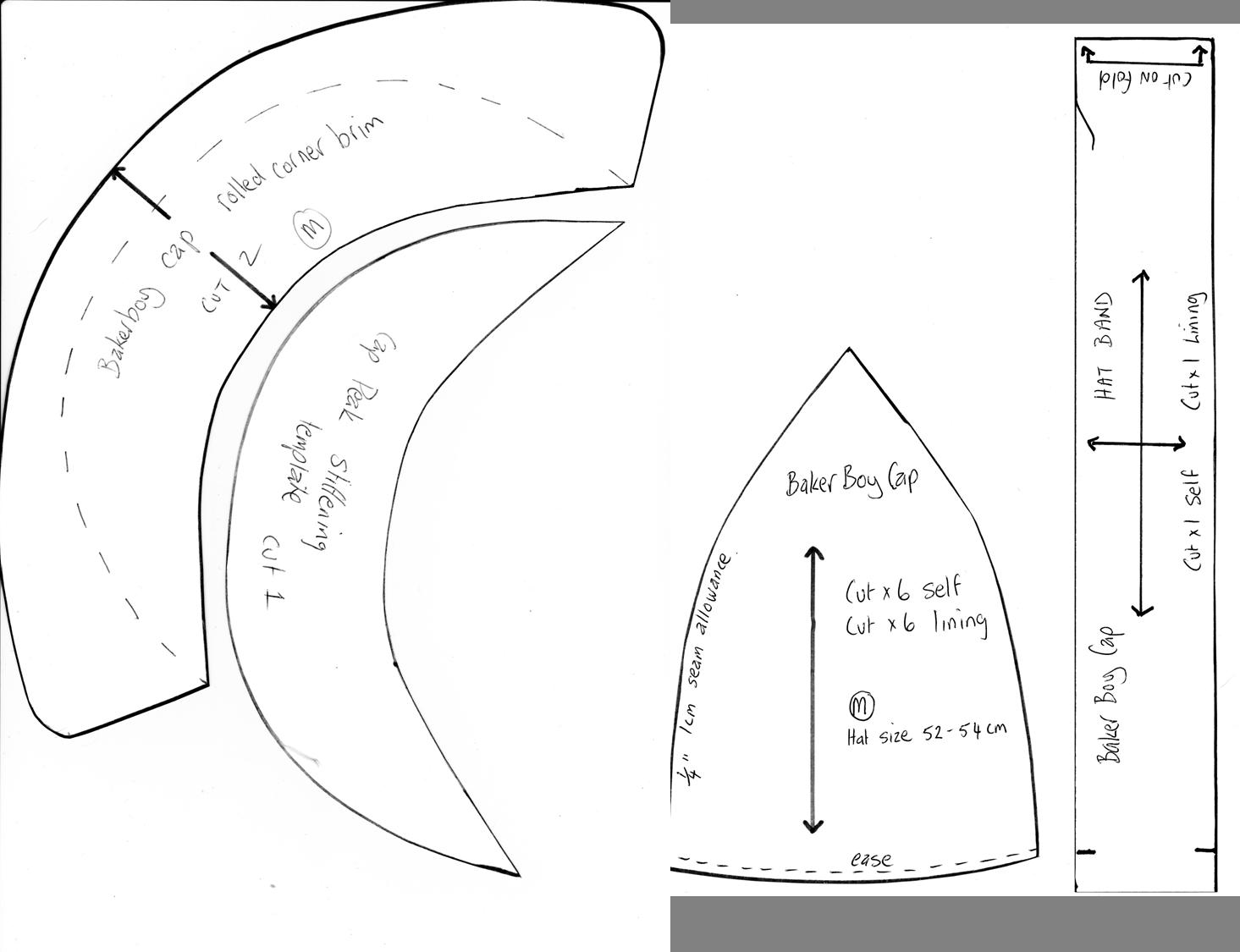 baker boy hat pattern - Google Search | SEWING PATTERNS 2 | Pinterest