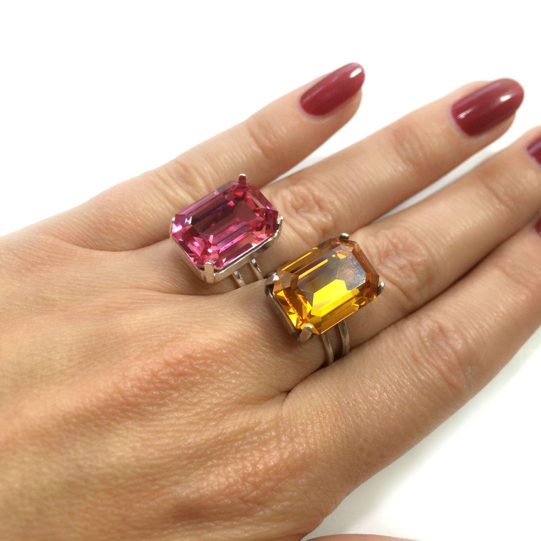 50695604320c42 Octagon 18X13mm adjustable ring bezel for easy setting fit Swarovski  crystals 4610