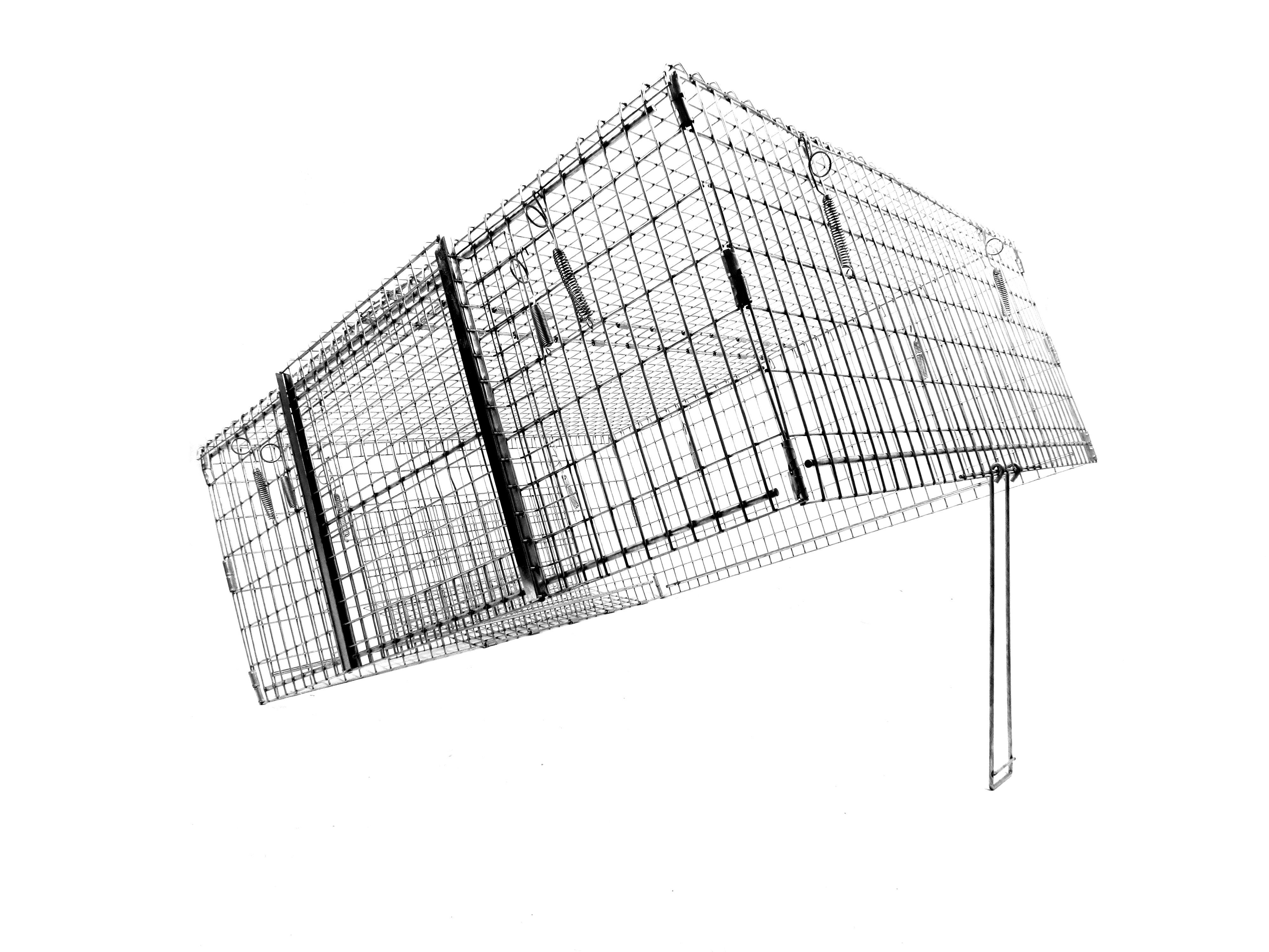 Model DT1 - Neighborhood Cat Drop Trap.  This trap is designed for hard to catch cats that are shy of standard box traps.  Collapses and folds easily for transportation and storage.