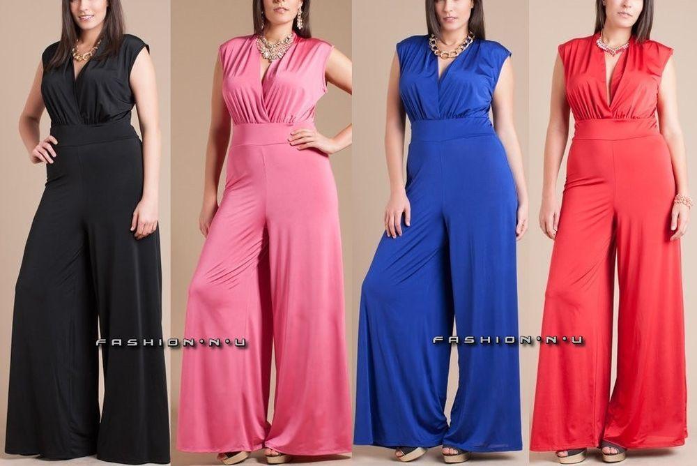 Plus Size Wide Leg Dress Jumpsuit High Waist Palazzo Pant Suit V