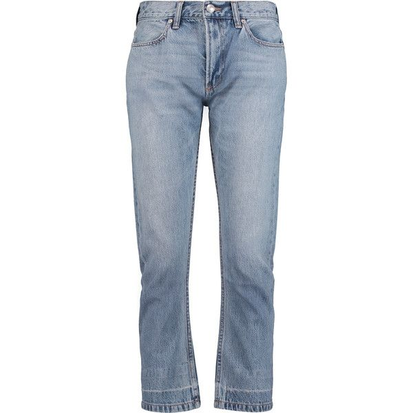 Marc by Marc Jacobs High-rise cropped straight-leg jeans (€70) ❤ liked on Polyvore featuring jeans, light denim, highwaist jeans, blue jeans, high waisted button jeans, cropped jeans and high rise jeans