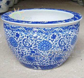 Large chinease blue and white ceramic decorative planters
