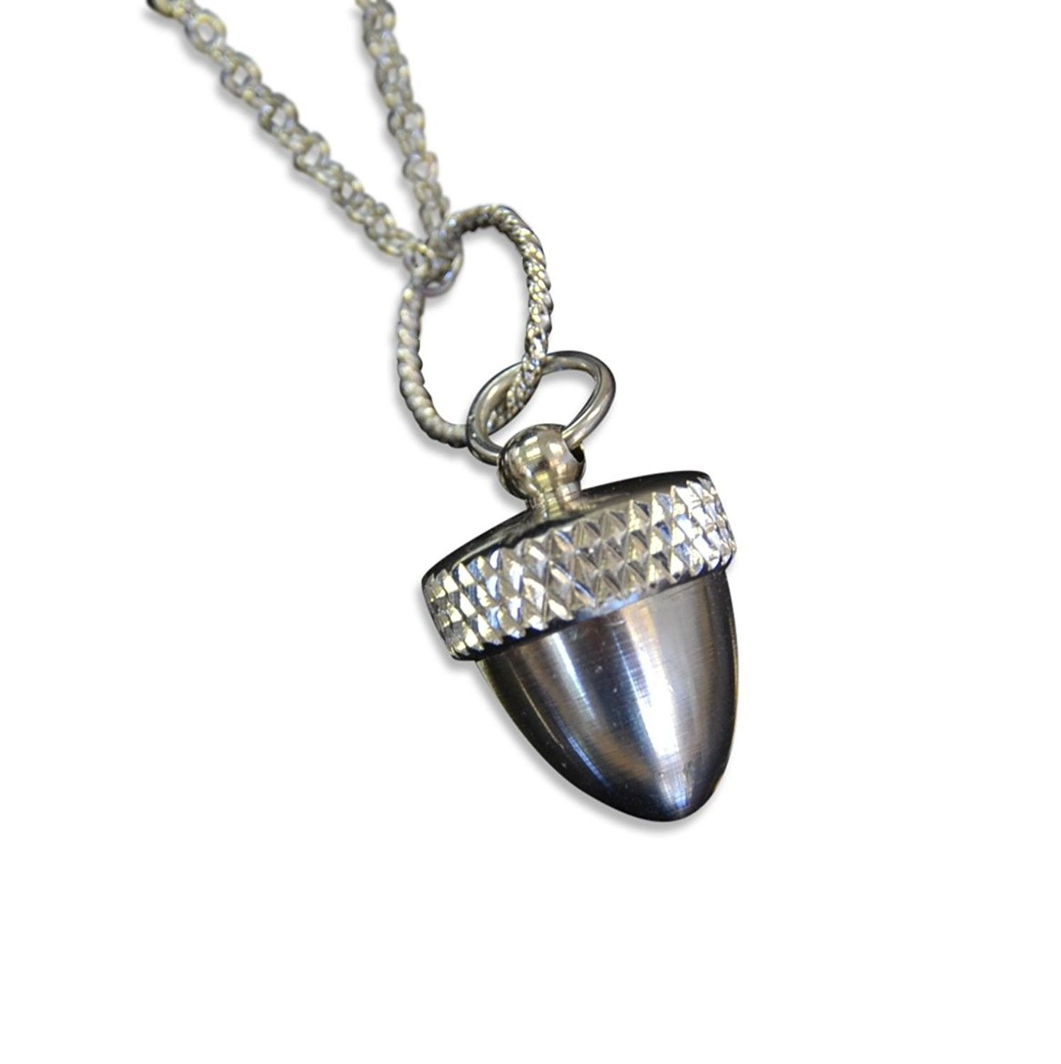 Stainless steel acorn capsule pendant necklace screw top cremation