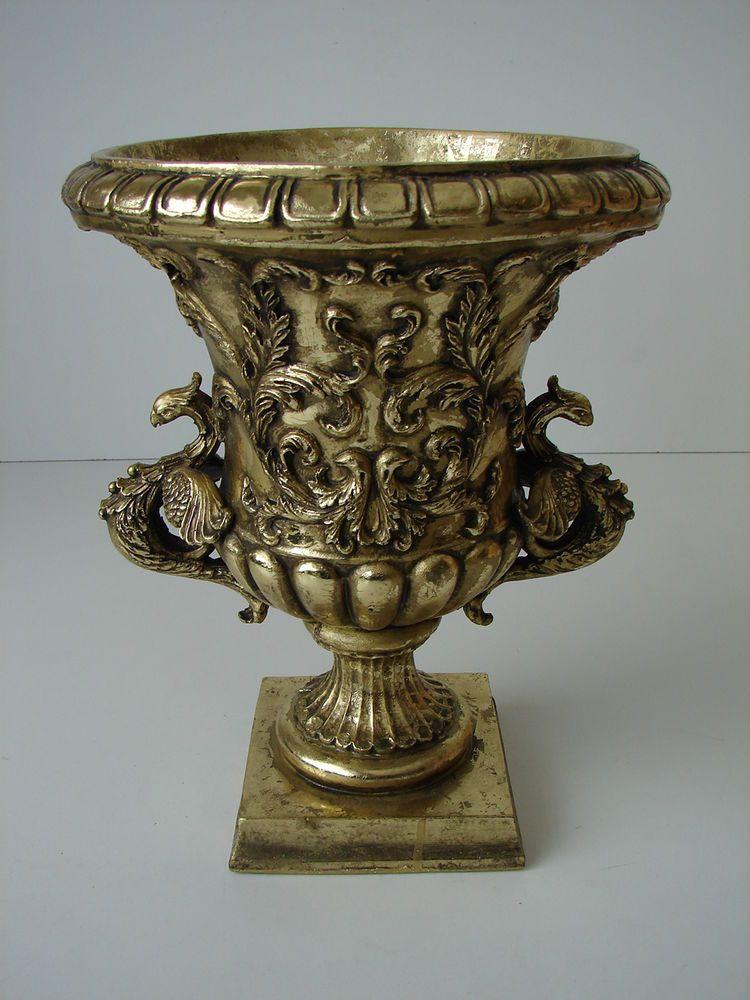 Blumenkübel 30 cm Blumentopf Gefäß Antik-Stil goldfarben Dekoration Pokal OVP!