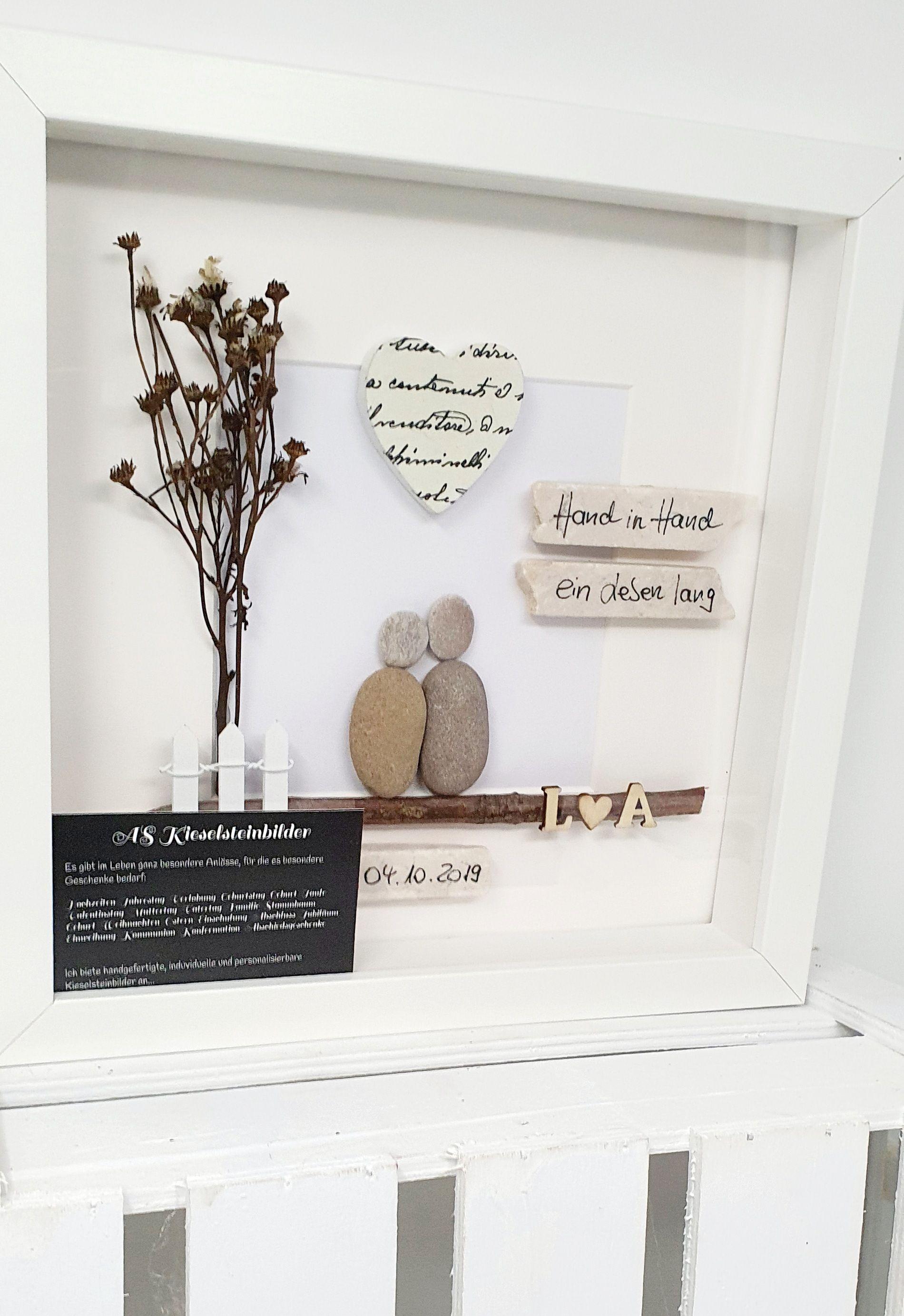 Papierhochzeit 1 Hochzeitstag 1 Jahrestag Geschenkidee Kieselsteinbild Bild Personalisierbar Crafts Wedding Decor