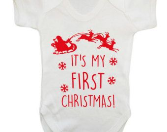 Personalised My First 1st Christmas Xmas Rudolph Santa Sleigh Baby Grow Bodysuit