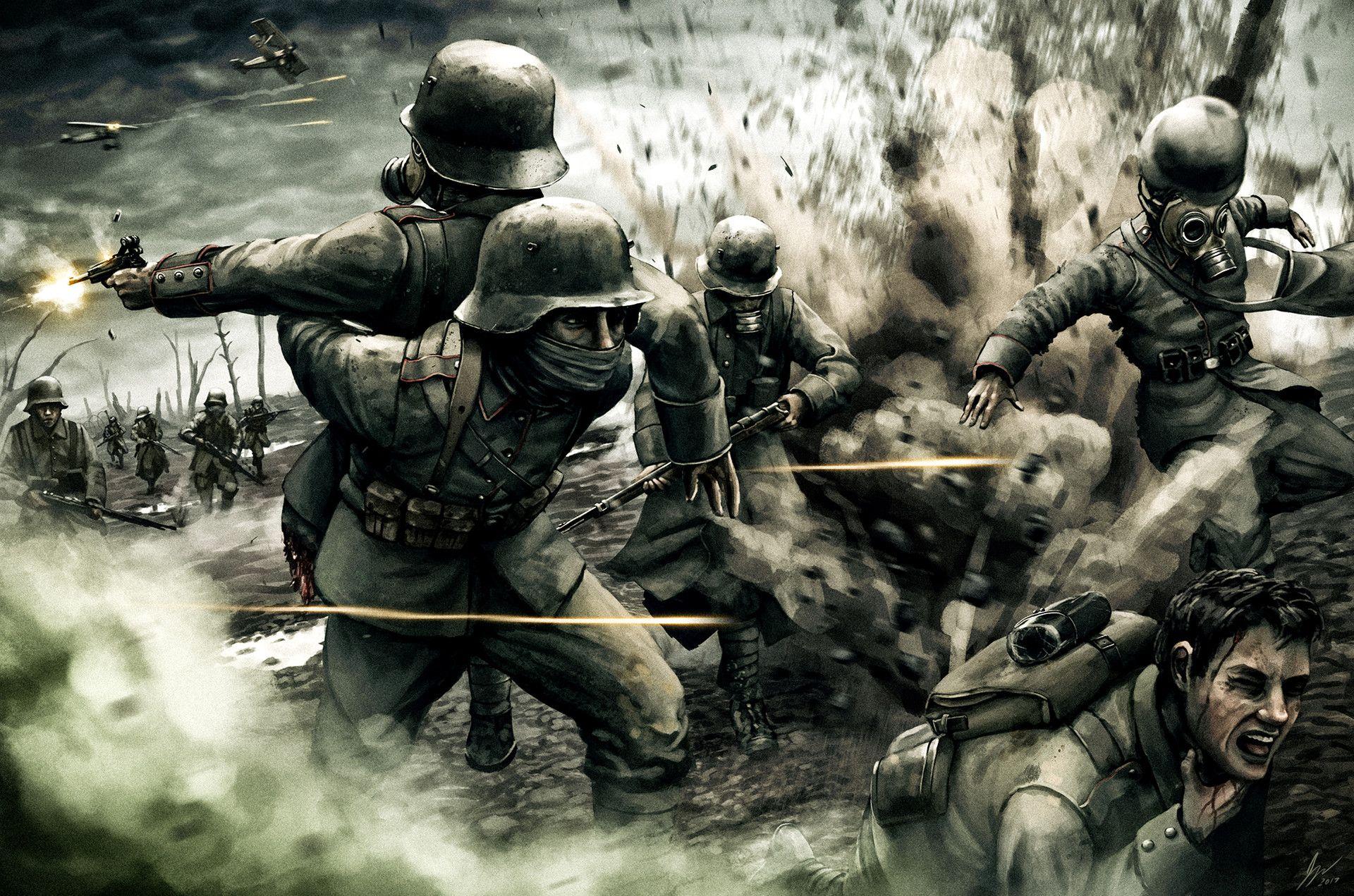 Military World War I Wars Battle Gas Mask War Hd Wallpaper B