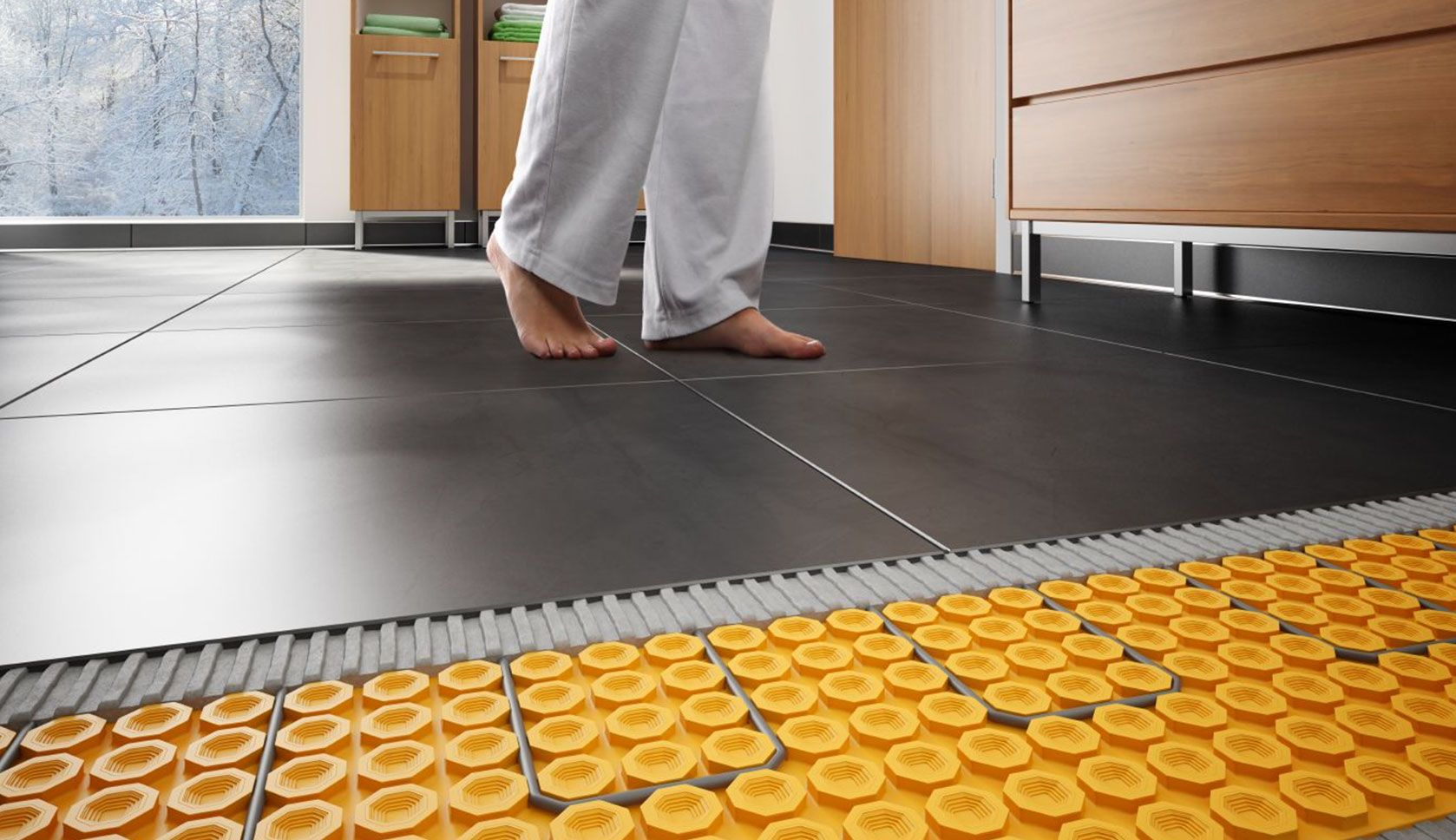 Schluter Ditra Heat Luxury For Your Feet Rue Floor Heating Systems Heated Floors Radiant Floor Heating