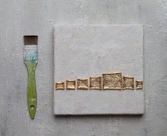 Abstrakte malerei blattgold auf leinwand von for Blattgold basteln