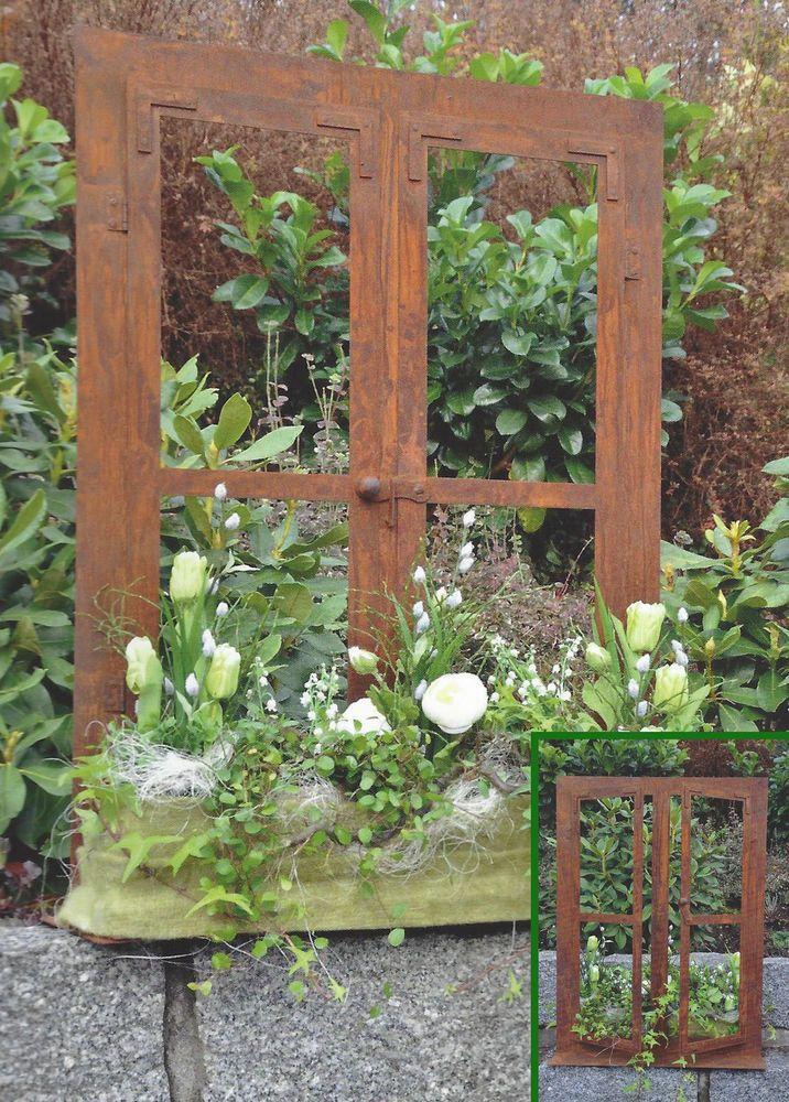 Deko Fenster 80 X 60 Cm Zum Offnen Edelrost Rost Gartendeko Dekoration Garten Rost Deko Garten Garten Deko Edelrost