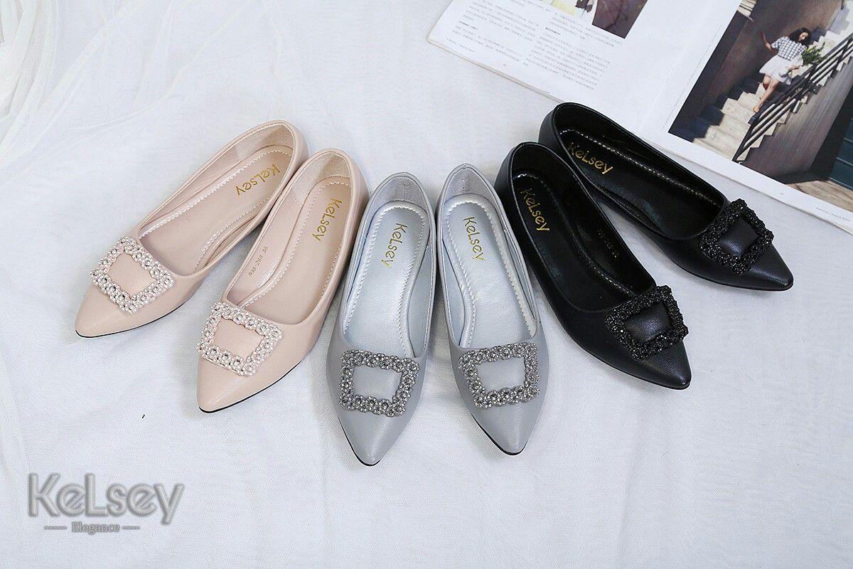 Sepatu Merek Kelsey M358 998 268 Flat Original Bahan Kulit