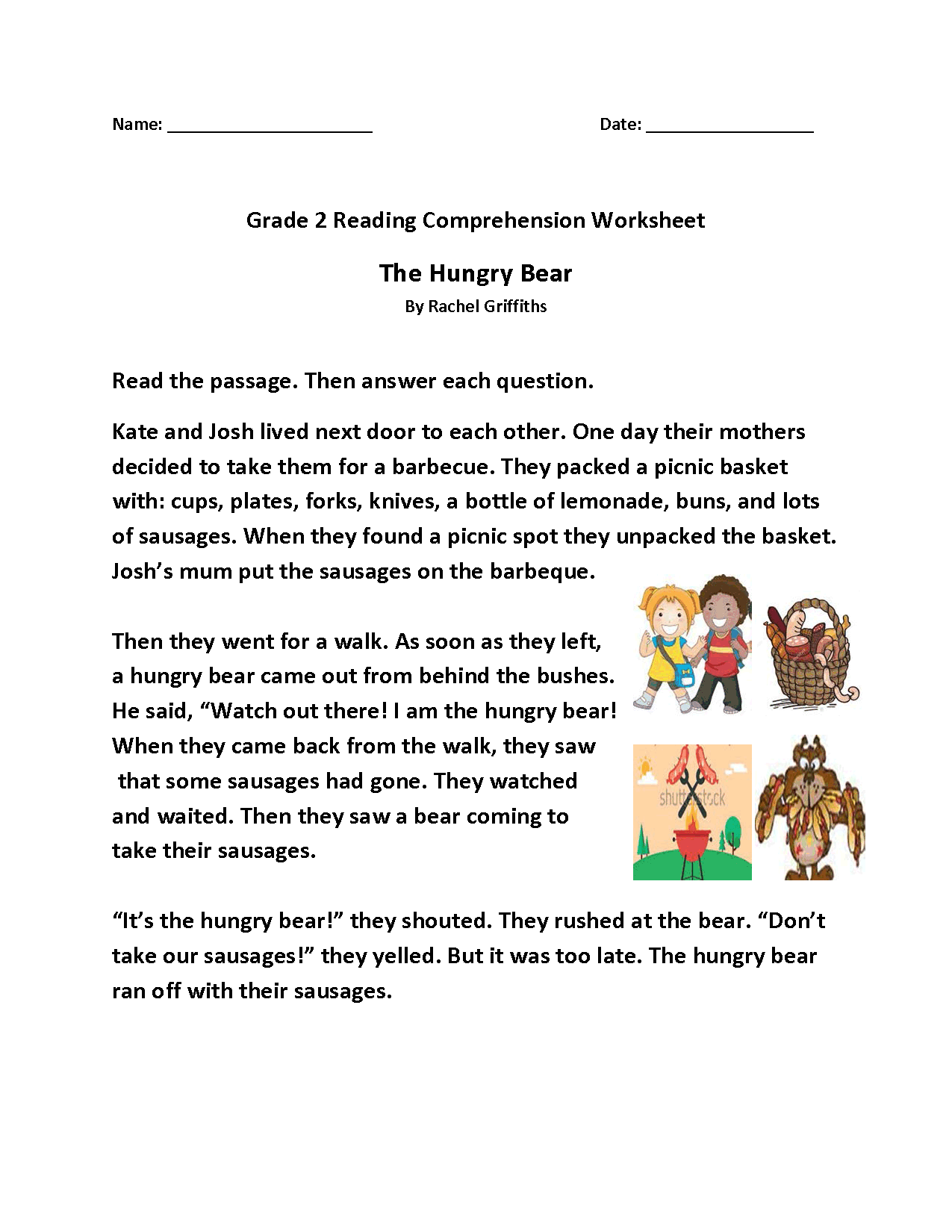 The Hungry Bear Second Grade Reading Worksheets