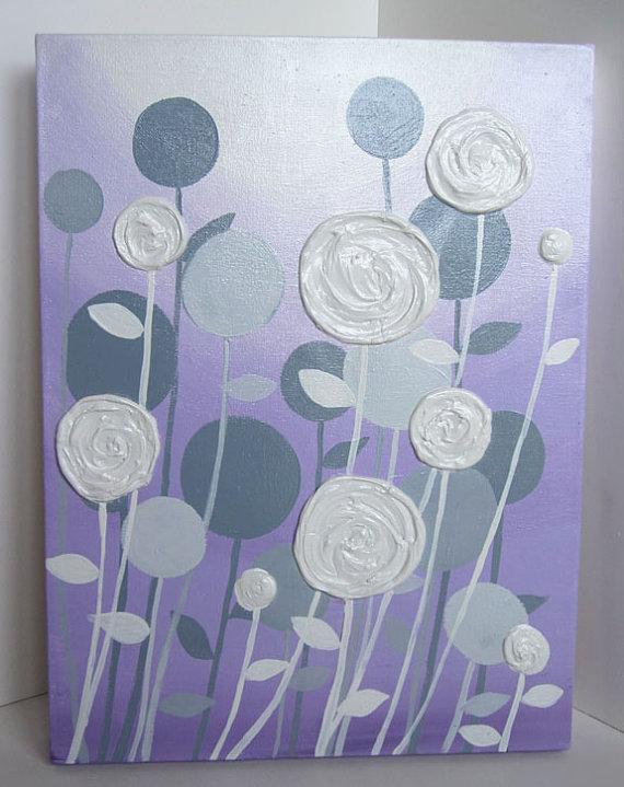 Wall Art Lavender Purple and Grey Modern Nursery Art   Etsy