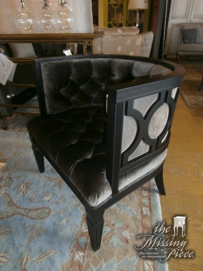 The Eastwood Barrel Chair With A Mineral Tufted Velvet Seat On
