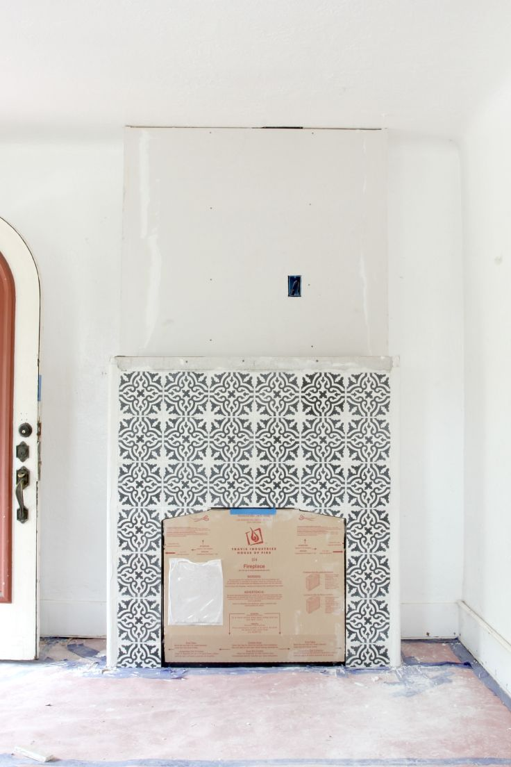 Building A New Fireplace Patterned Cement Tile Surround The Grit And Polish Fireplace Tile Freestanding Fireplace Fireplace Tile Surround