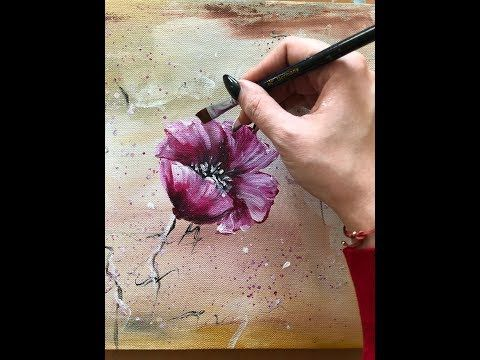 How To Make An Abstract Flowers Painting On Canvas By Julia