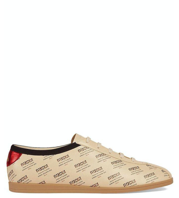 Gucci Mens Beige Invite Print Leather Sneakers Size 85
