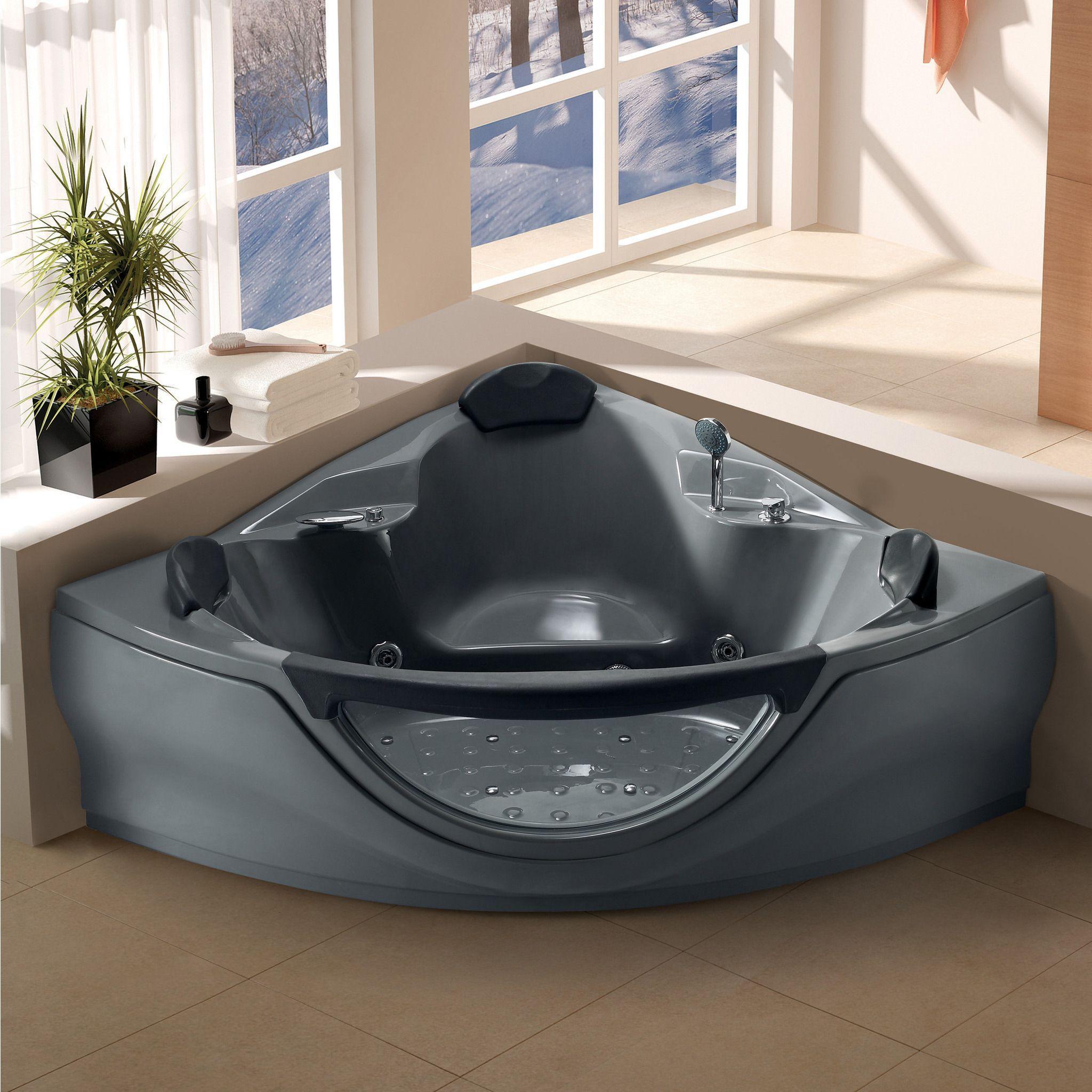 Maya Bath Venezia-Grey 5\' 3-seater Corner Acrylic Whirlpool Bathtub ...