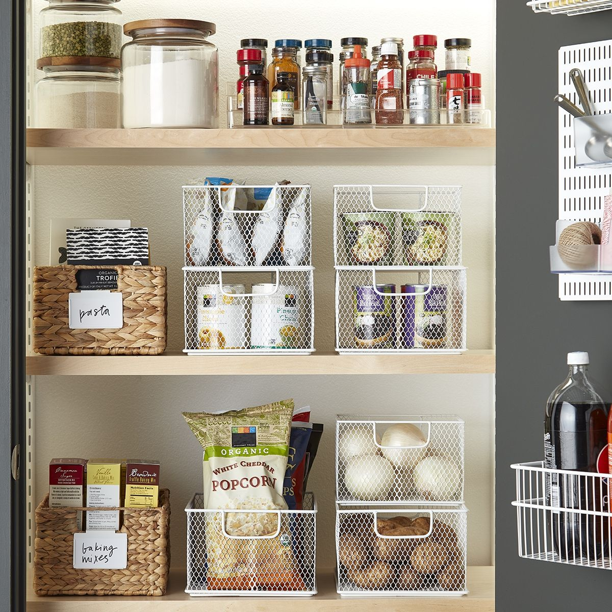 Wire And Water Hyacinth Baskets For Pantry Organization Stackable Bins Diy Pantry Organization Kitchen Storage Organization Storage bins for kitchen pantry