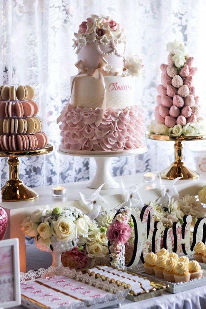 Pink Ivory Vintage Christening Dessert Table Spring And Easter