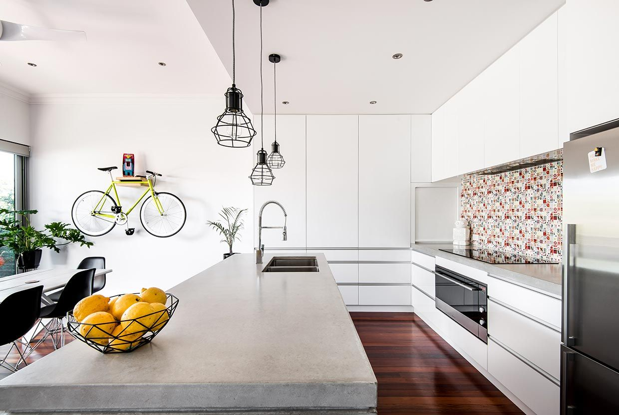 Modern renovated Perth cottage with concrete island and jarrah ...