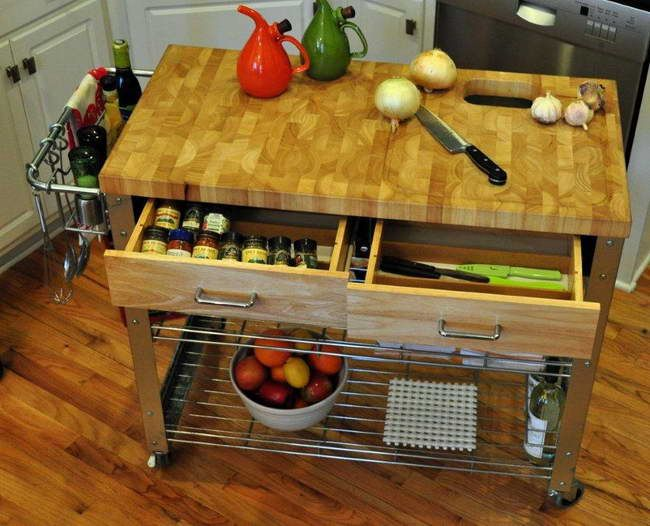 Kitchen: Movable Kitchen Islands With Iron Rack, butcher block ... house ideas Portable ...