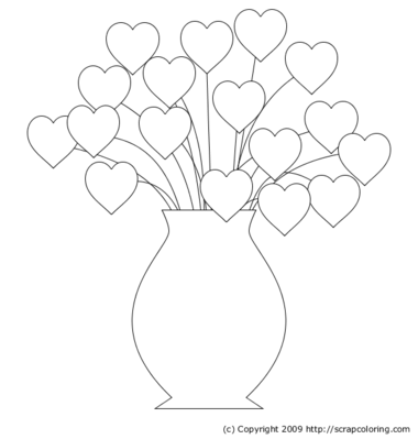 coloring pages vases of flowers | ... bouquet flowers in pot lotus ...