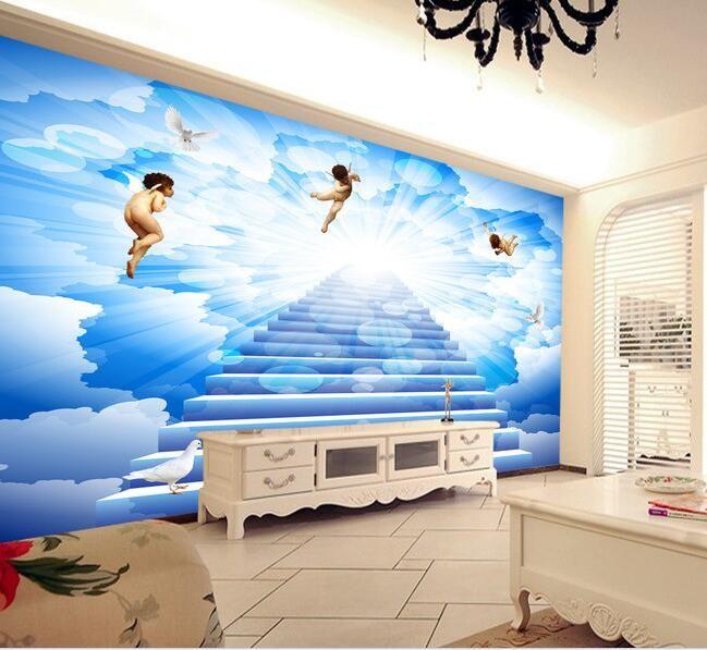 3d wallpaper custom mural non woven Wall stickers blue sky white