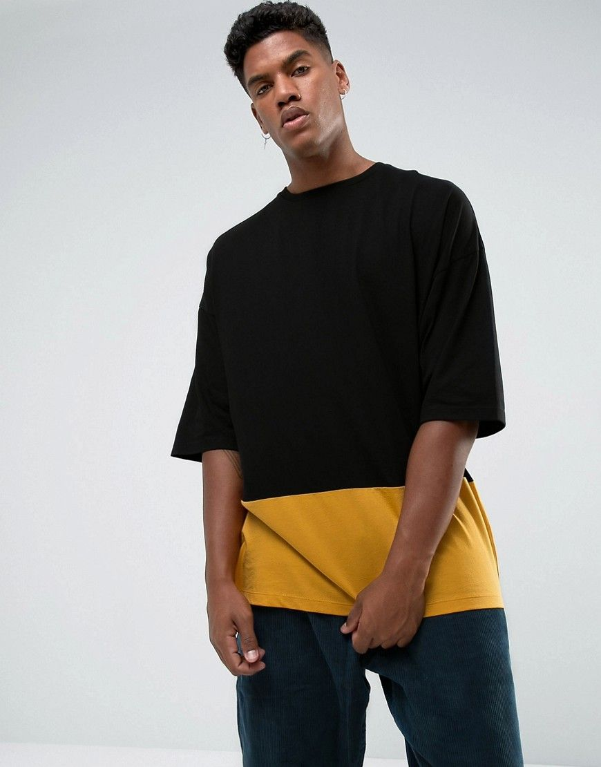 475dc691a2b7 Get this Asos's long t-shirt now! Click for more details. Worldwide  shipping. ASOS Super Oversized T-Shirt With Cut And Sew Panel - Black: T- shirt by ASOS, ...