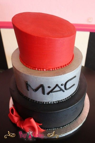 Birthday Cake 3 Tier Girl Red Black Mac Lipstick Lipstick Cake