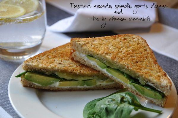 Toasted avocado, spinach, goats cheese and tasty cheese sandwich