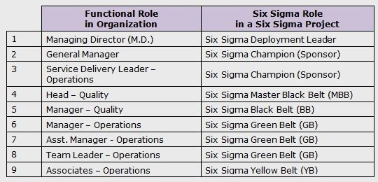 Functional Roles vs Six Sigma Roles