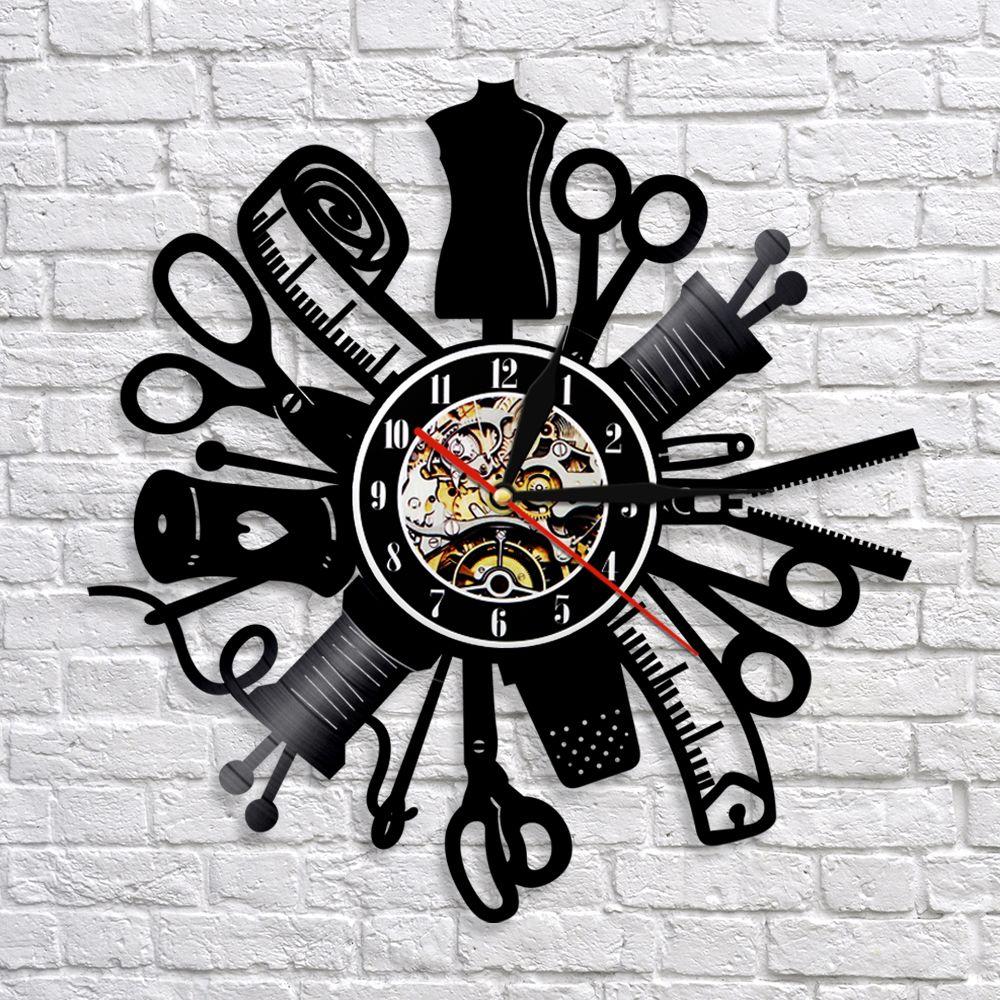1piece Apparel Sewing Insturment Art Clock Sewing Machine 3d Wall Clock Handmade Room Art Decor Best Gift Idea For Friends Review Wall Clock Record Wall Art Clock