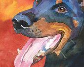 Doberman Pinscher Dog Art Signed Print by Ron Krajewski. $12.50, via Etsy.