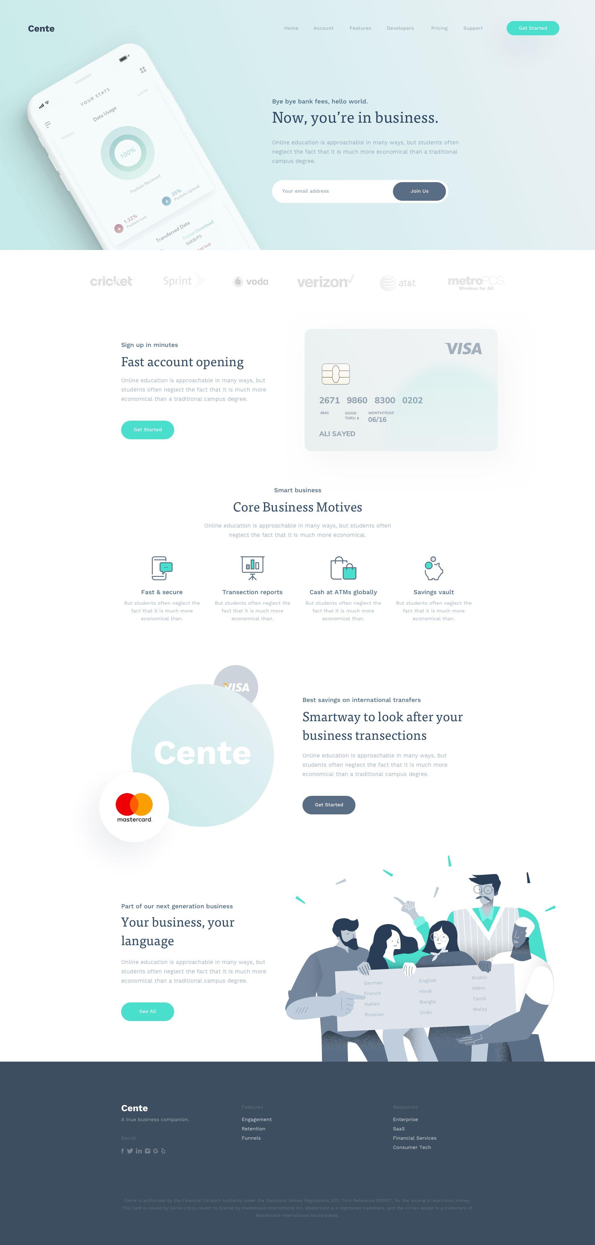 Cente Landing Page #landingpage #dribbble #ui #illustration #webdesign #app #website
