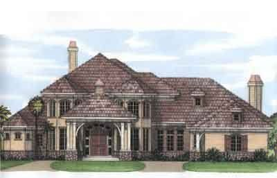 European Style House Plan 4 Beds 5 Baths 5042 Sq Ft Plan 115 181 Mediterranean Style House Plans House Plans French Country House Plans