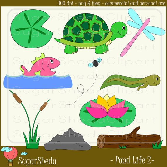 Natural Pond Life with Animals v2 in Pink by SugarShedaClipart