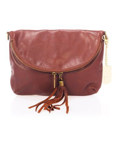 27bbb0ef69438 Another great find on  zulily! Brown Fold-Over Leather Crossbody Bag ...