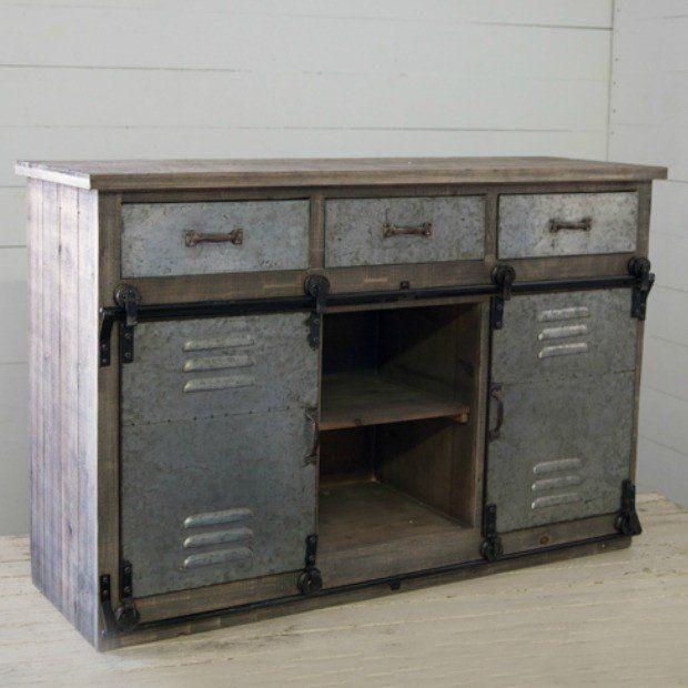 Metal Locker Style Barn Door Storage Cabinet Farmhouse Storage