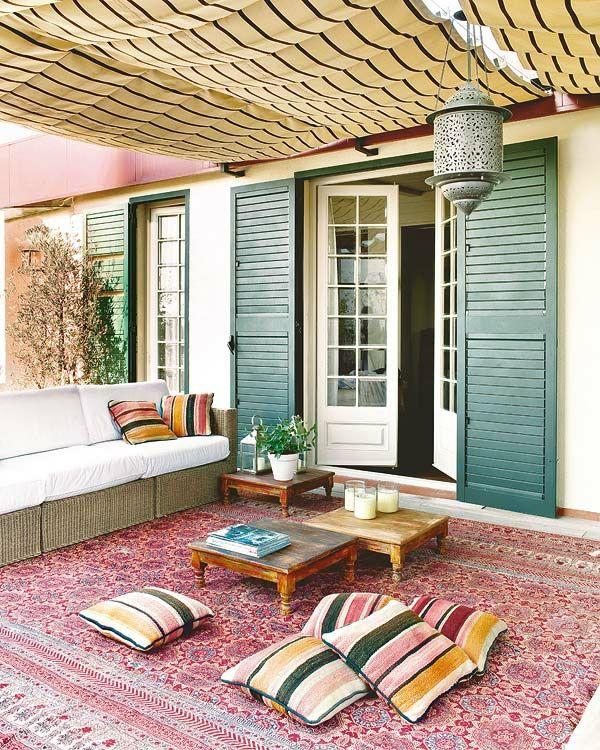 Captivating Den Balkon Einrichten Orientalisch Boden Kissen Niedrig Tisch Holz