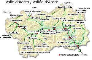 Cartina Politica Della Valle D Aosta.Valle D Aosta Mappa Dell Italia Buon Viaggio Livello Del Mare