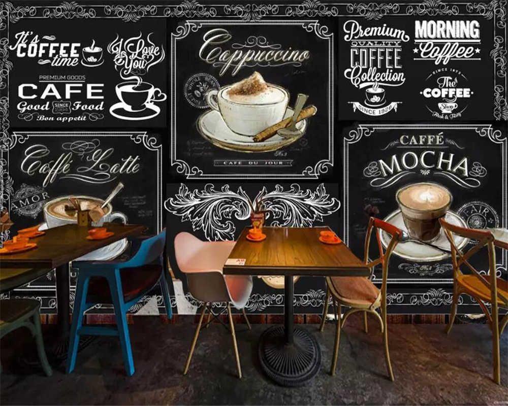Beibehang Custom Wallpaper European And American Style Retro Hand Painted Blackboard Coffee Catering Background 3d Wallpaper Wallpapers Aliexpress Custom Wallpaper Cafe Decor Custom Murals