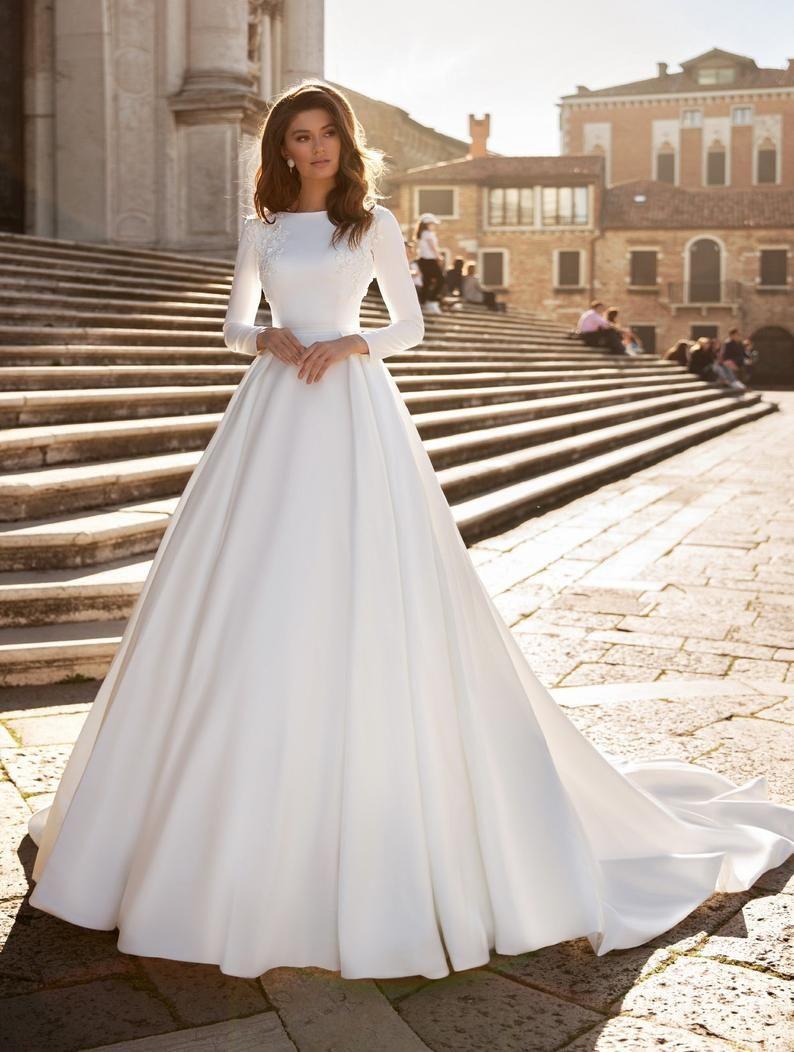 Sordamor Aline Satin Long Sleeves Wedding Dress With Etsy Wedding Dress Sleeves Elegant Wedding Dress Wedding Dress Long Sleeve [ 1052 x 794 Pixel ]